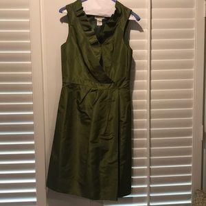Ruffle neck silk dress